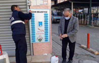 Belediye Şehrin Birçok Noktasına El Dezenfekte İstasyonu Kurdu