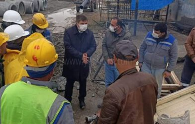 Vali/Belediye Başkan V. H. Engin Sarıibrahim, Kanalizasyon hattı çalışmalarını inceledi